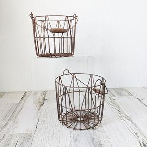 Decorative Egg Gathering Wire Basket Storage